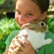 Gril with bunny — Stock Photo