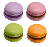 Four french macarons, isolated — Stock Photo