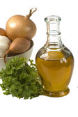 Olive oil with onion and parsley — Stock Photo