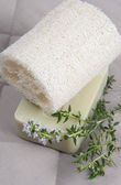 Natural lufah sponge wlth thyme soap — Stock Photo