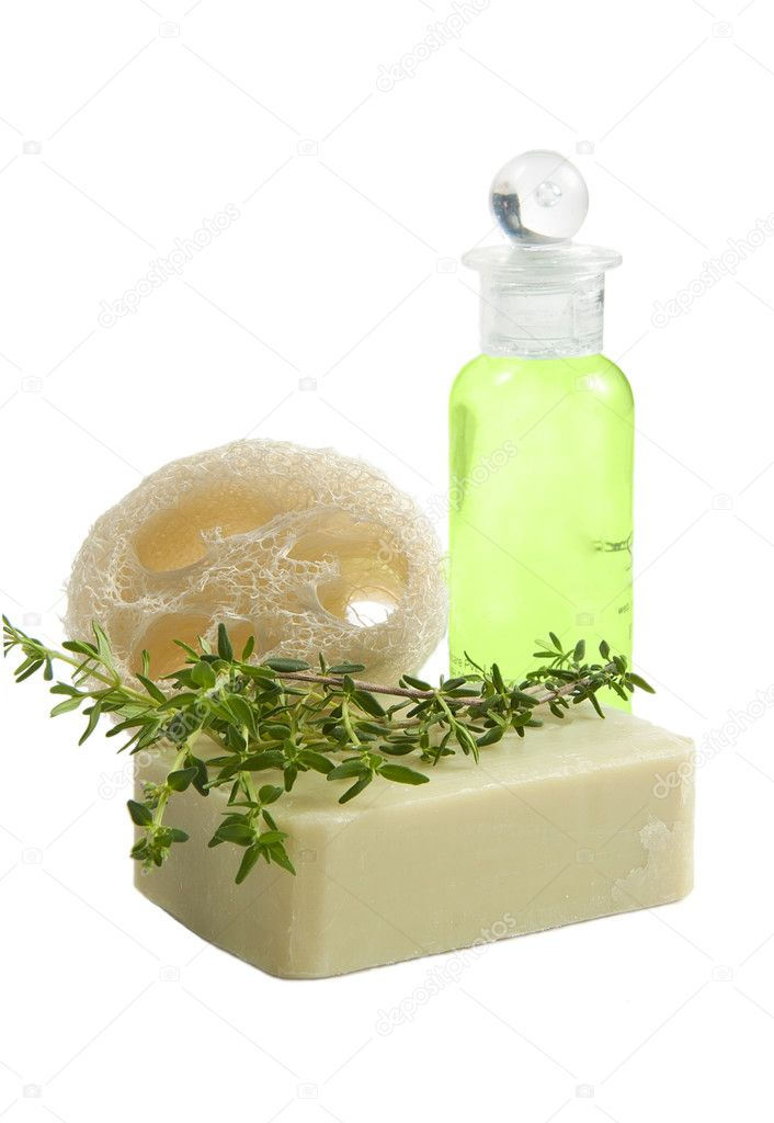 Luffa sponge, thyme soap and shampoo bottle, isolated   Stock Photo #3175372