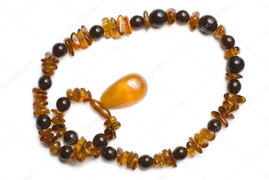 Amber necklace view from the top isoalated on white  Foto de Stock   #3252051
