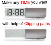 LCD clock + time by clipping paths | Isolated — Foto de Stock