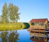 Arbour on pontoons — Stock Photo