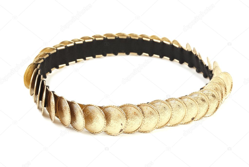 Golden colored female belt. Isolated on white background — Stock Photo #3728644