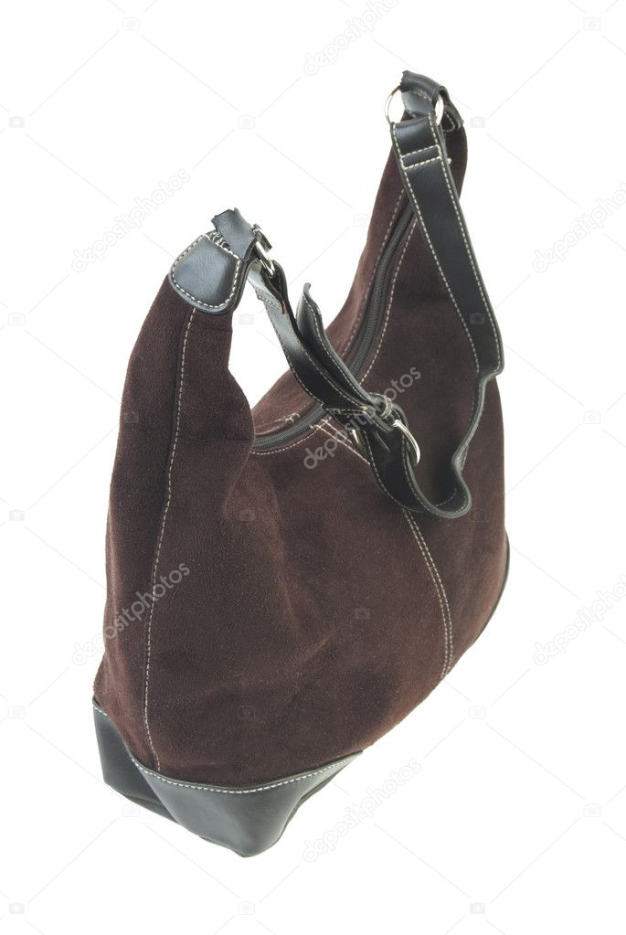 Brown leather handbag. Isolated on white background — Stock Photo #3730457