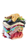 Huge pile of bed-clothes #3   Isolated — Stock Photo