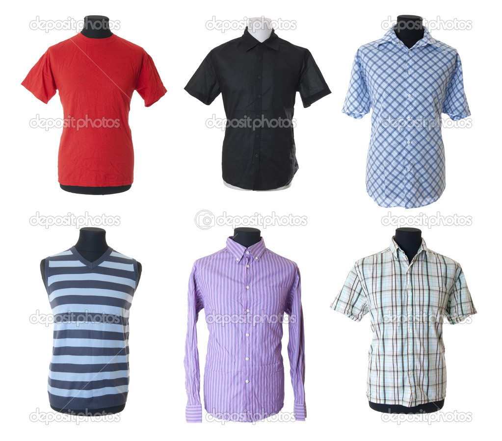 6 male clothes with short and long sleeves on mannequin torso. Isolated on white background  Stock Photo #3811915