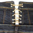 Stok fotoğraf: Jeans clothing with laces | Isolated