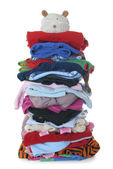 Pile of children's warm fluffy clothes | Isolated — Stock Photo