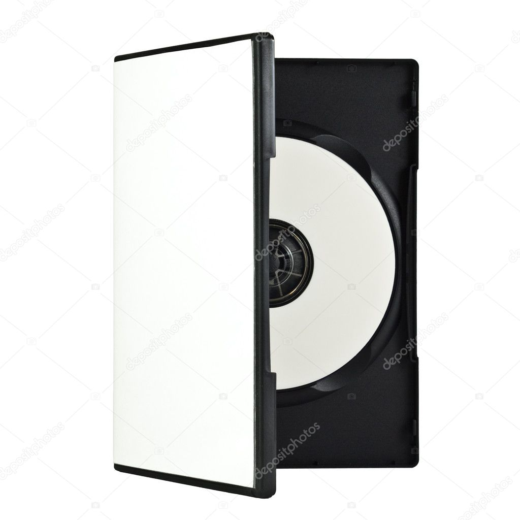 A DVD Case with a dvd disc, isolated on a white background. A clipping path is included for the cover of the disc and the case. — Stock Photo #3087031