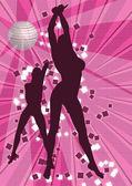 2 在迪斯科舞厅跳舞的女孩 — 图库照片