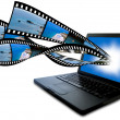 Stock Photo: Laptop with filmstrips