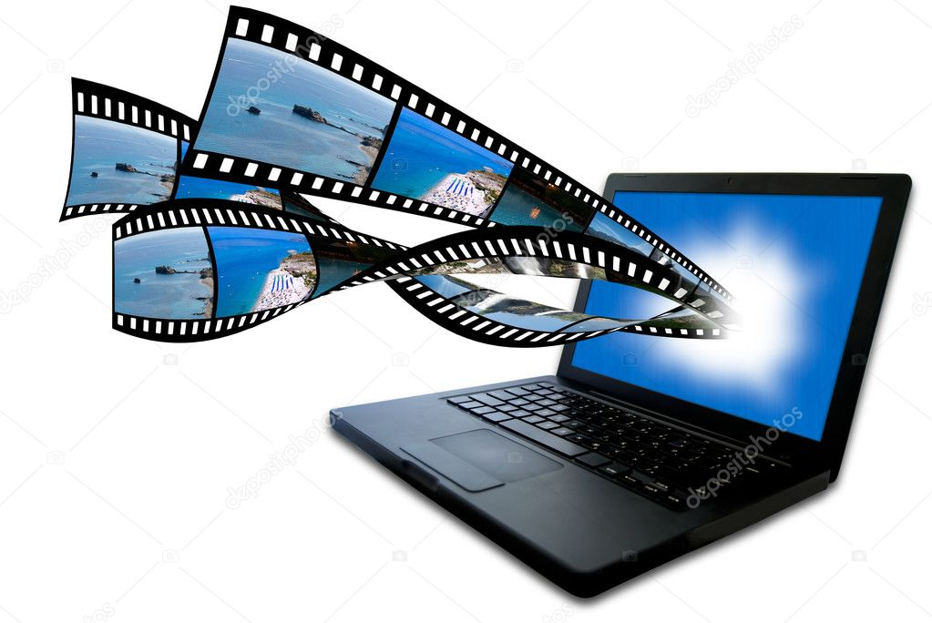 Laptop with filmstrip images flying out of the screen  Stock Photo #3107903