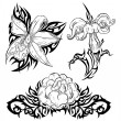 Tattoo with flowers — Stock Vector