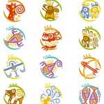 Maya art stylized zodiac signs — Stock Vector