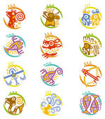 Maya art stylized zodiac signs — Stock Vector