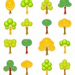 Cartoon trees icons — Stock Vector