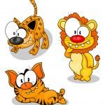 Cartoon big cats — Stock Vector