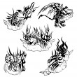 Tribal dragons with labels - Stock Vector