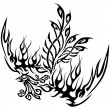 Tattoo with phoenix - Stock Vector