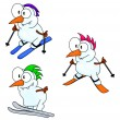 Stock Vector: Skiing snowmen