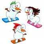Постер, плакат: Snowboarding snowmen