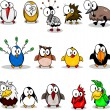 Collection of cartoon birds - Stok Vektör