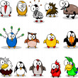 Collection of cartoon birds - Stockvektor