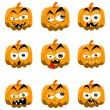 Cartoon halloween pumpkins — 图库矢量图片