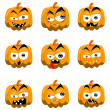 Cartoon halloween pumpkins - Stock Vector