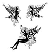 Tattoo with fairies or elves — Stock Vector