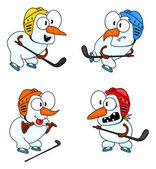 Snowmen play hockey — Stock Vector