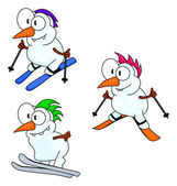 Skiing snowmen — Stock Vector