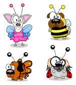 Chiens de dessins animés en costumes — Vecteur