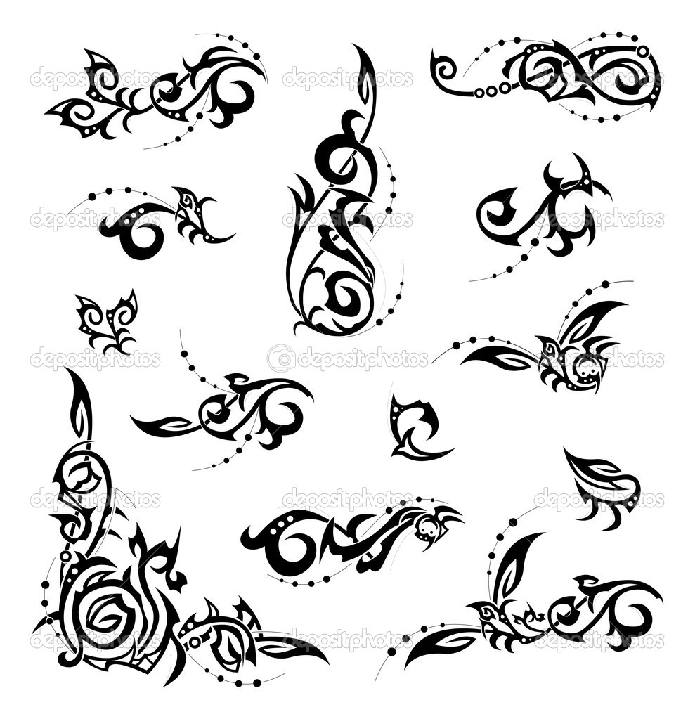 Set of tribal, floral corners and design elements.   Stock Vector #3137856