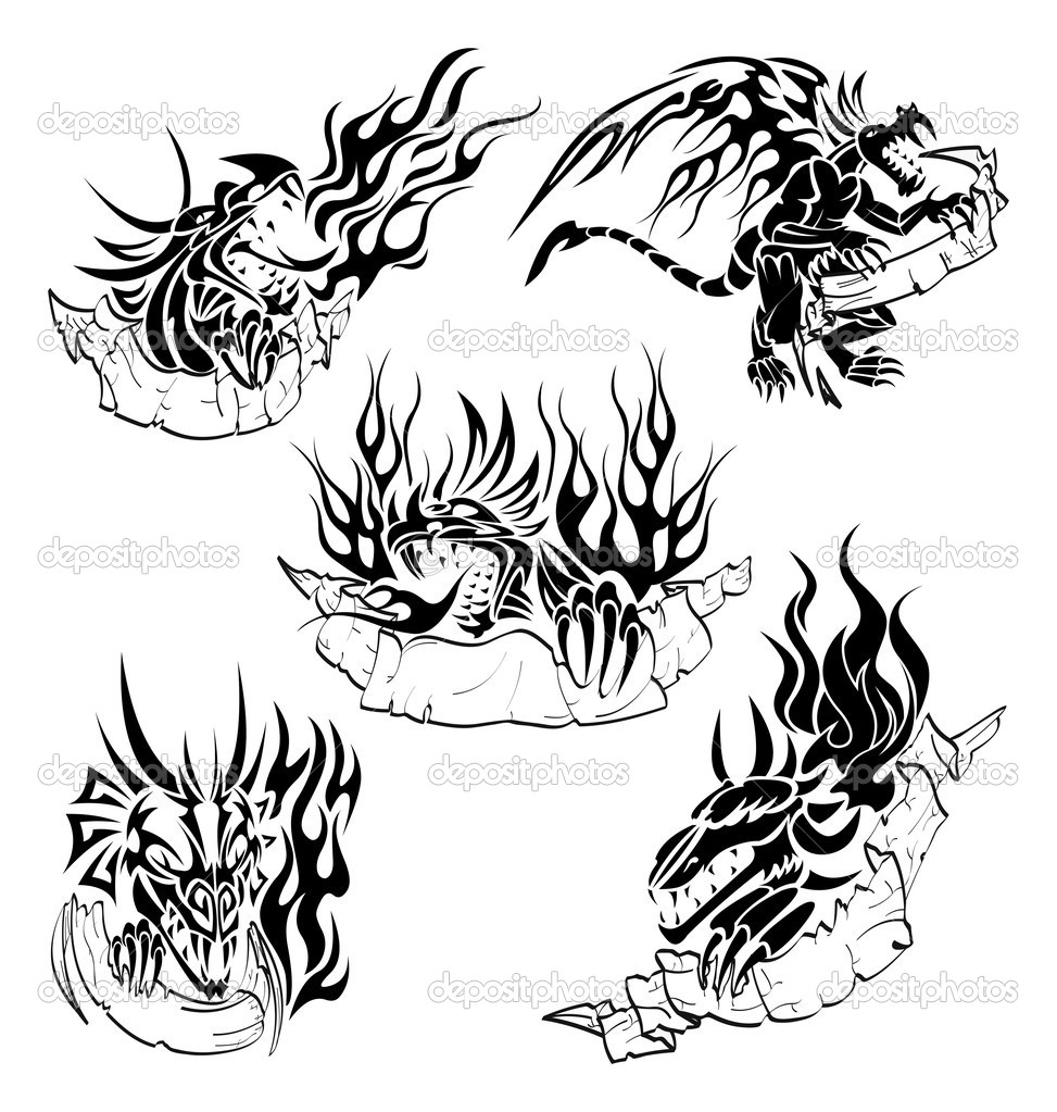 Five tattoo with dragons, flame and hand-drawn labels for text. — Stock Vector #3138131