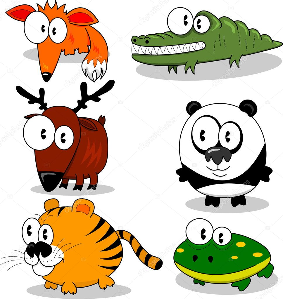 Some cartoon animals (fox, deer, tiger, crocodile, panda, frog).  Stock Vector #3139274