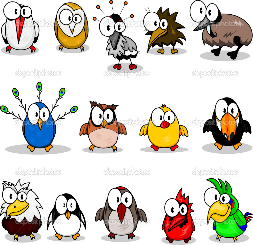 Cartoon birds (chicken, eagle owl, toucan, penguin, peacock , owl, parrot, woodpecker, cardinal-bird, ostrich, crane, stork, kiwi, eagle). — Image vectorielle #3139321