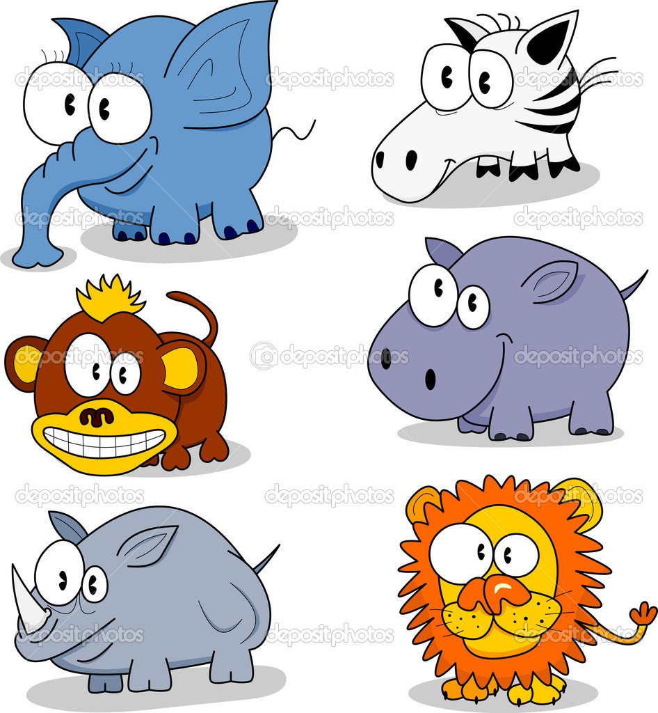 Some cartoon animals (elephant, monkey, rhinoceros, zebra, hippopotamus, lion). — Stock Vector #3139362