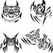 Tattoos big cats - Stock Vector