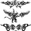 Tattoos dragons - Stock Vector