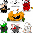 Collection of halloween creatures — Stok Vektör