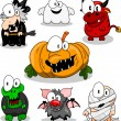Stock Vector: Collection of halloween creatures