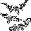 Tattoos birds of prey — Stock Vector