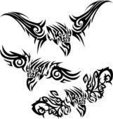Tattoos birds of prey — Stock Vector
