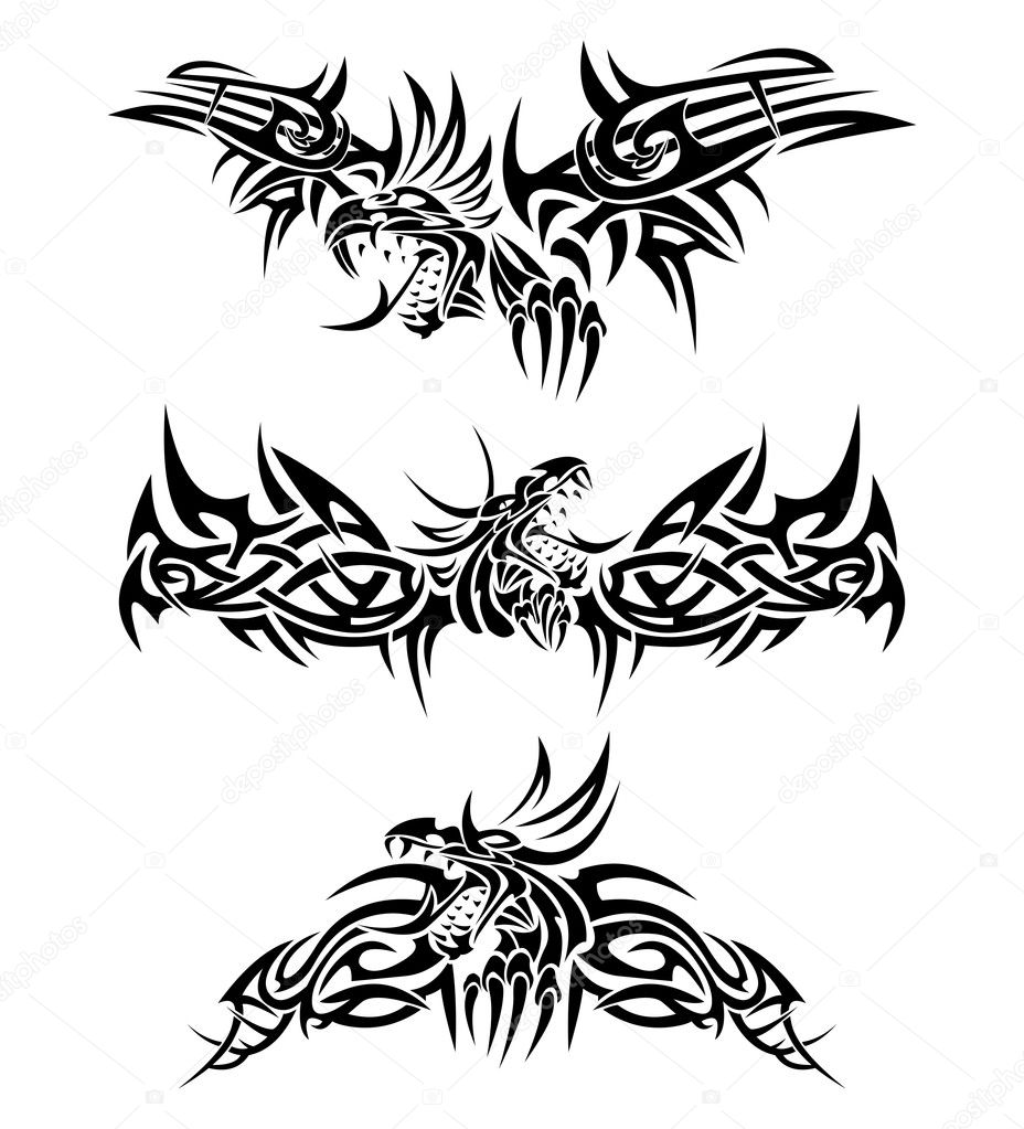 Three tattoos with mythic dragons.  Stock Vector #3147040