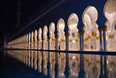 Arches of islamic mosque at night — Stock Photo