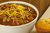 Bowl of Chili with Cornbread — Stock Photo