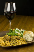 Spaghetti, Salad, and Wine — Stock Photo